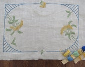 3 Piece BUFFET SET To Finish - Table Mat 2 Round Doilies To Complete Embroidery Pre-Stamped Ivory Linen French Knot GOLDENROD Blue Edging