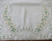 TABLE RUNNER To Finish - Stamped Linen To Complete Embroidered Pre-Stamped Ivory Linen Dainty Floral Dresser Scarf Hemstitched Border