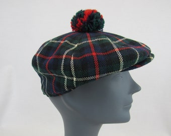 Scottish Tam Plaid Wool Beret Vintage Spean Bridge Woollen Mill Scottland  Wool Blend Tartan Plaid Hat w  Pom Pom Made in Scotland Size 6-7 8 759c2b7603