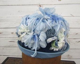 3ebe9bc79c367 Blue Floral Hat Vintage 1950s Womens Cloche Hat Shades of Blue Silk Flowers  Tall Crown Special Occasion Hat Costume