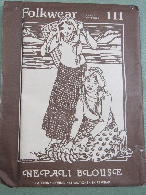 Uncut Vintage 1977 Folkwear Ethnic Sewing Pattern 111 Nepali Etsy