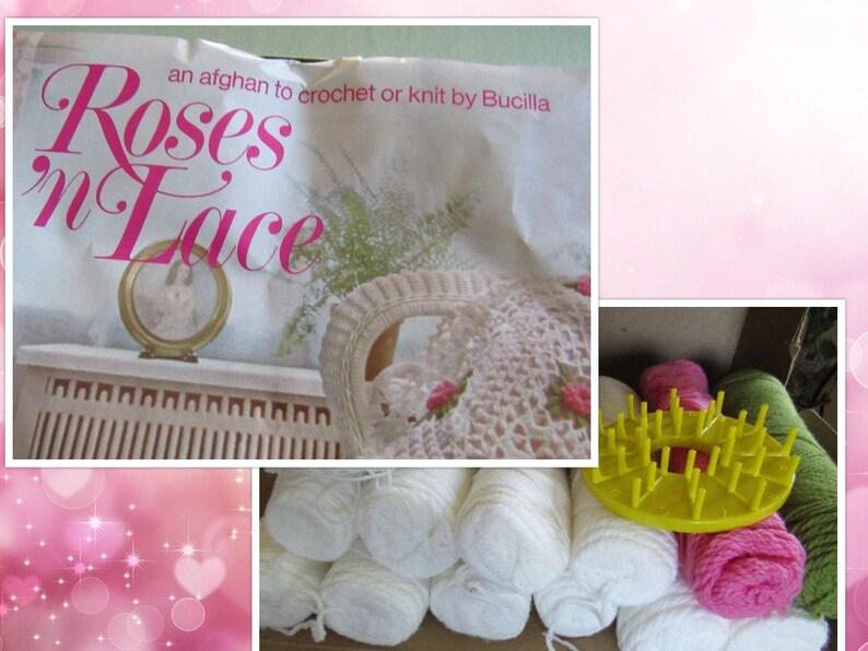 Bucilla Rose Afghan Crochet Knit Kit Vintage 1970s Flower Loom Etsy