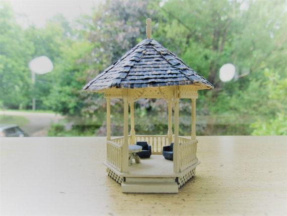 Miniature Gazebo Miniature 3 Gazebo Fairy House Garden Accessory Dollhouse Gazebo Fairy Garden Floral Dollhouse Miniature Scale 1 24