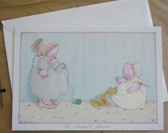 Vintage THANK YOU Michel & Co Greeting Card Children Cat Yarn Friends Girlfriends Favor Baby