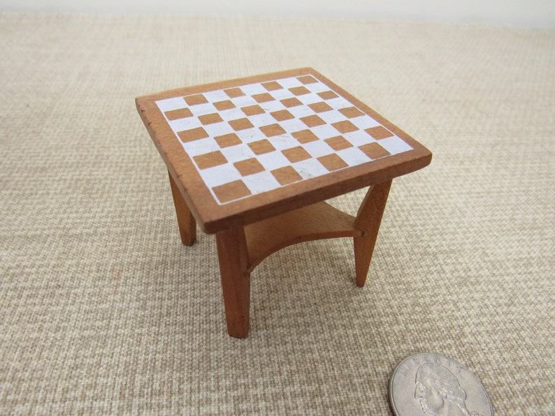Dollhouse Miniature CHESS Checkers TABLE   Handcrafted Vintage Wooden Game  Table Bobu0027s Arts U0026 Crafts Handmade Stenciled Wood End Table