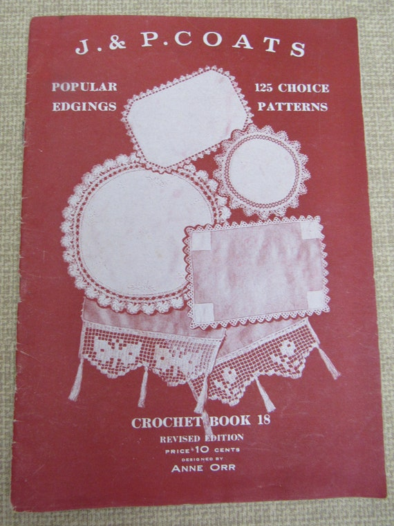 Antique Crochet Pattern Book Anne Orr Popular Edgings Vintage Etsy