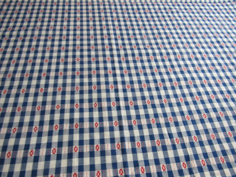 Sewing Fabric Home Decor Quilting Curtains Red White /& Blue Embroidered Fabric 2.9 yards Vintage Woven Cotton Tablecloth Fabric 57x106