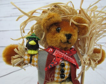 SCARECROW Miniature Teddy Bear - Vintage Miniature Bear - Miniature Teddy Bear - Harvest Bear - Handmade Bear Country Bear Bearcrow