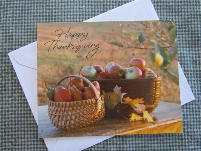 Simple Vintage THANKSGIVING Greeting Card HALLMARK Traditional Still Life Photo Missing You Thinking of You Apples Pears Fruit Basket