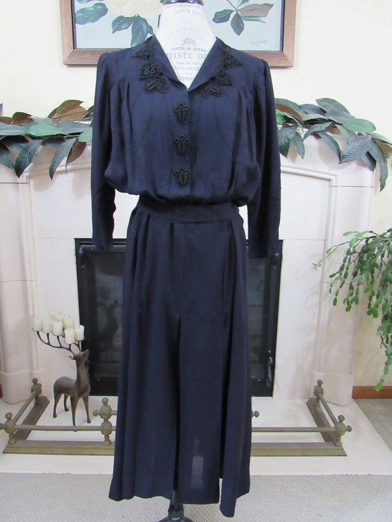 Antique Rayon Dress - Vintage 1930s Navy Rayon Fro