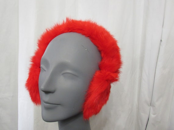 Fur Ear Muffs - RED Rabbit Fur Ear Muffs Vintage … - image 3