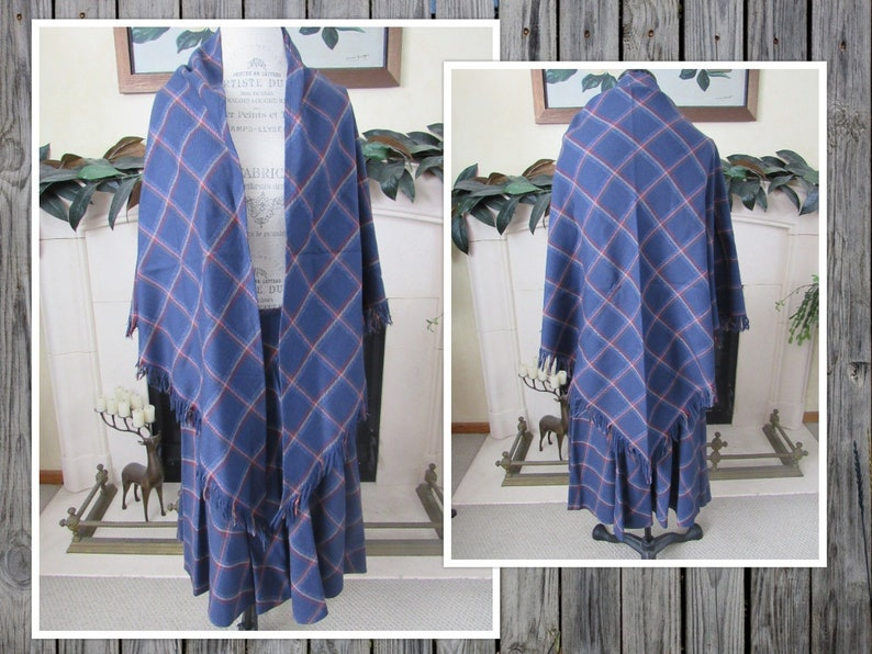 SCOTTISH Wool Skirt with Fringed Shawl Blue and Red Tartan Plaid Side Button Kilt Scotland Womens Size X-Large Traditional Costume