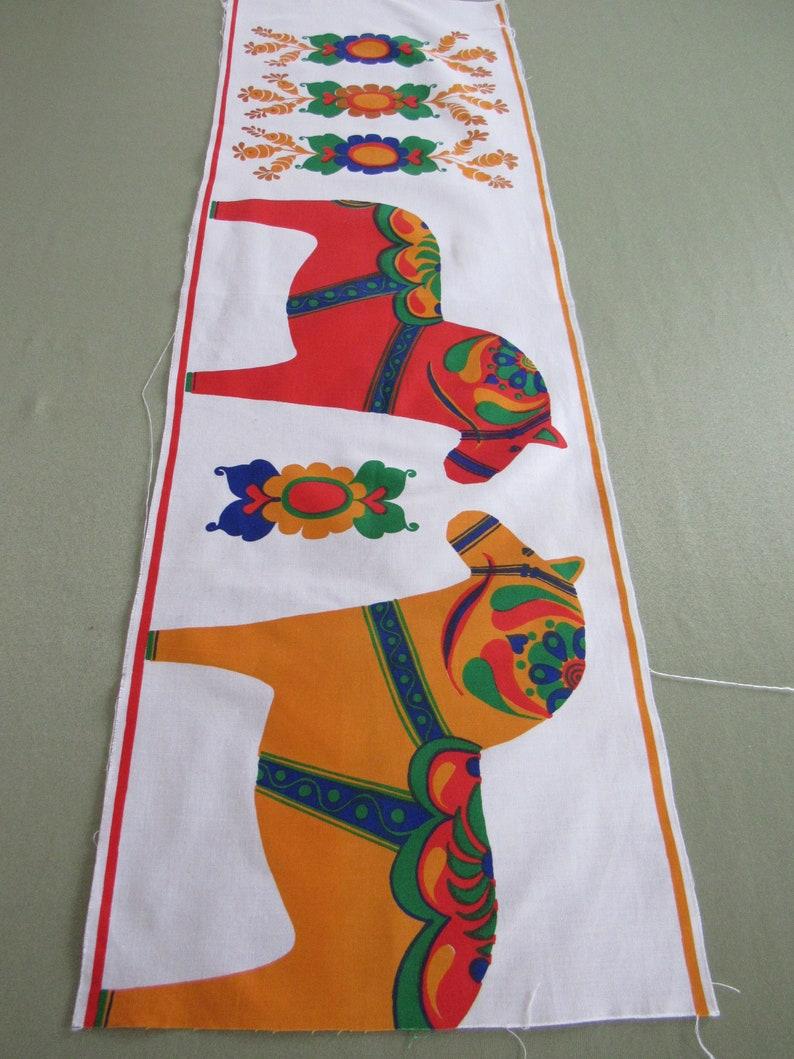 Partial DALA HORSE Vintage Swedish Fabric Panel Cotton Applique Scandinavian Home Decor Curtain Valance Quilting Craft Sewing Pillow