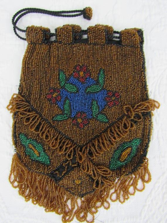 Antique Tan Crochet Knit Cobalt Blue Bead Satin Lining Drawstring Purse Vintage Accessories