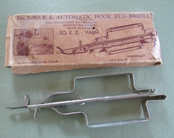 Latch Hook Rug Needle Vintage Wonderart No. 7 E.Z. Automatic Hook Rug Needle Rug Making Tool Crafting Original Box Instructions Included