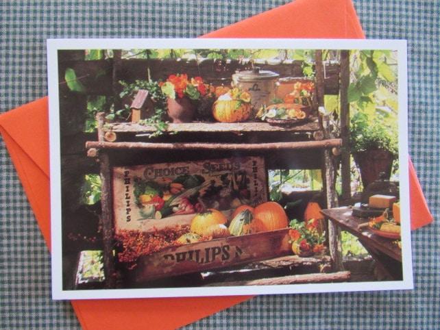Warm Vintage THANKSGIVING Greeting Card MARCEL SCHURMAN Traditional Farmer's Market Gourds Pumpkins Flowers