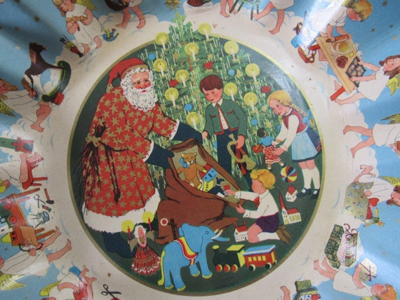 Vintage BORG Germany Printed Fluted Cardboard Candy Dish Father Christmas Santa Children Toys Angels
