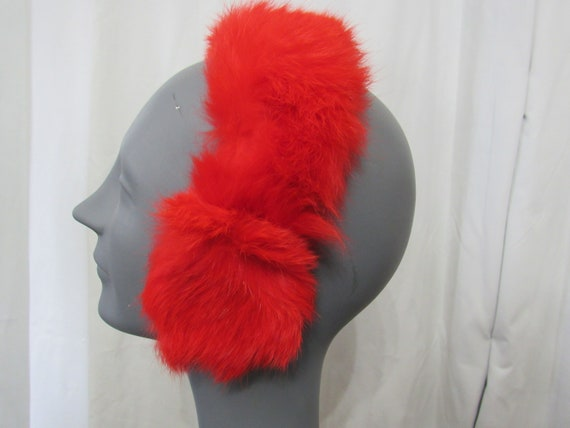 Fur Ear Muffs - RED Rabbit Fur Ear Muffs Vintage … - image 1
