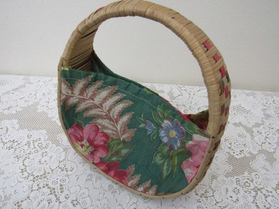 Tropical Fabric & Wicker Round Handbag - Vintage 1