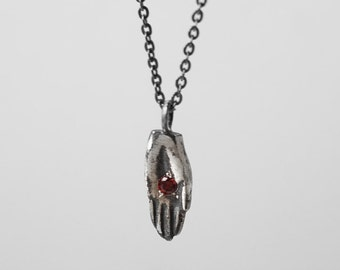 STIGMATA necklace - silver or bronze with garnet