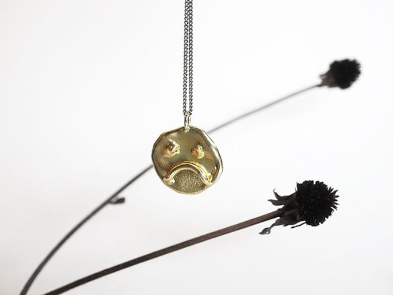 MOOD brass or silver pendant  two sides: happy/grumpy image 0