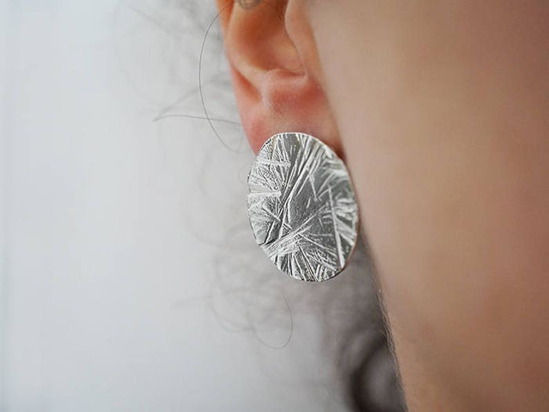 textured FULL MOON stud earrings  sterling silver or bronze image 0