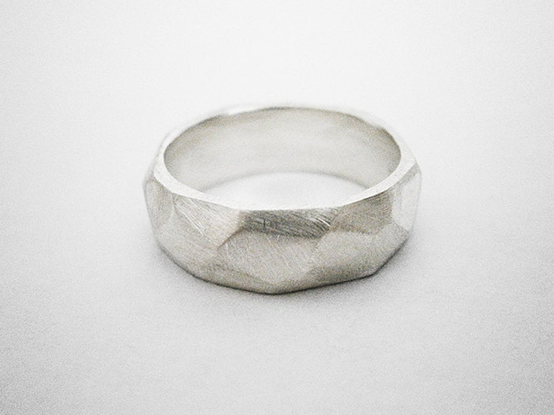 mens sterling silver faceted ring image 0