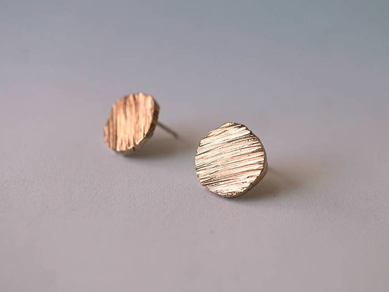 CIRCLE TEXTURED stud earrings  sterling silver or bronze image 0
