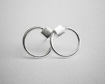 CUBE sterling silver earrings
