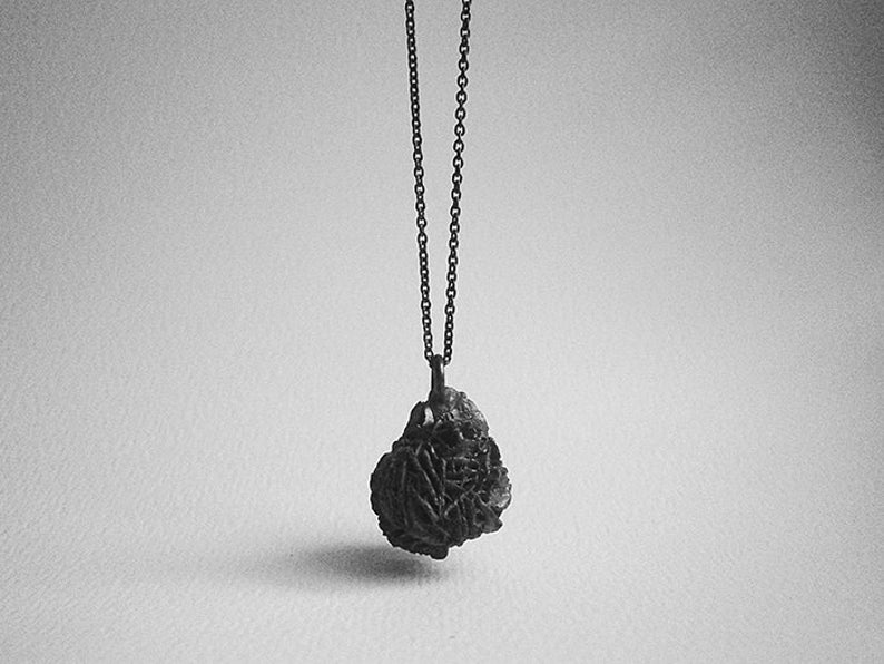 oxidised sterling silver sand rose pendant image 0