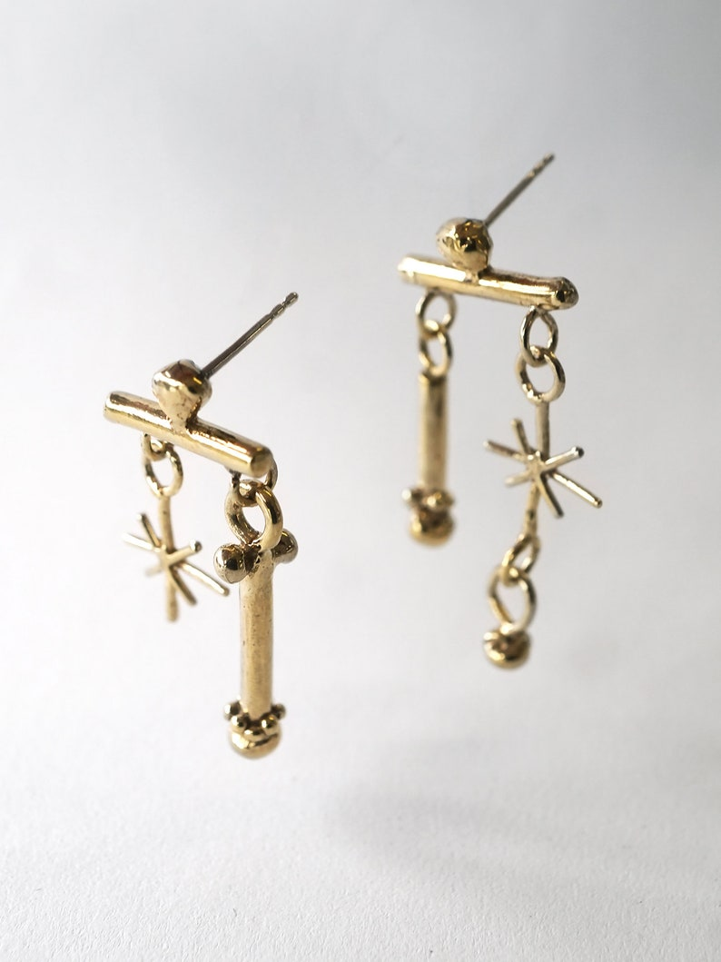 RATTLE earrings  solid sterling silver or gold plated  image 0