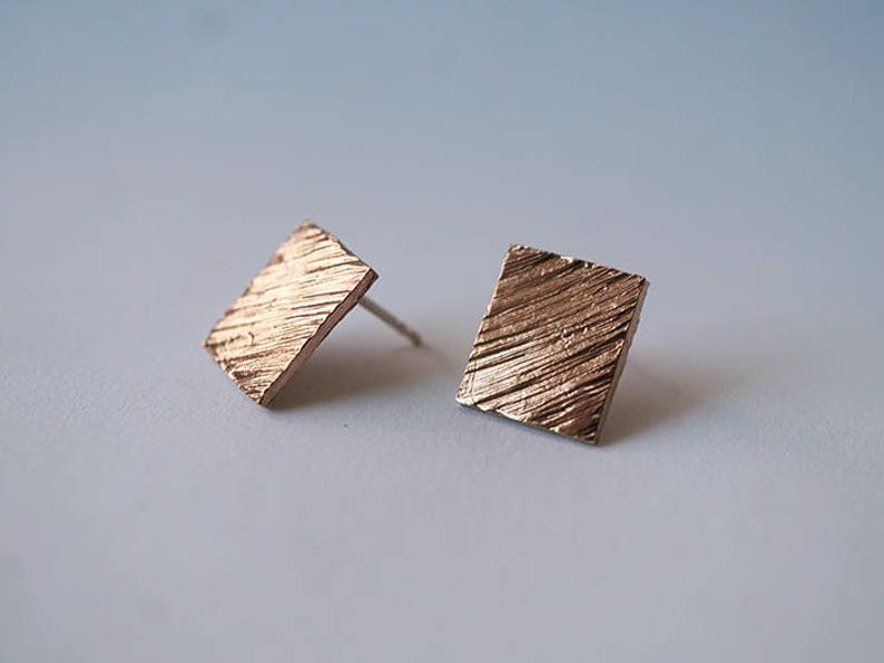 SQUARE TEXTURED stud earrings  sterling silver or bronze image 0
