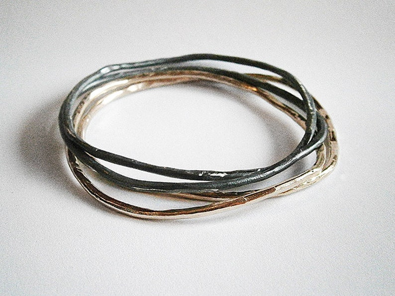 L-M textured bangle sterling silver or bronze image 0