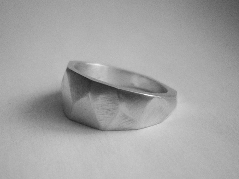 sterling silver faceted ring image 0