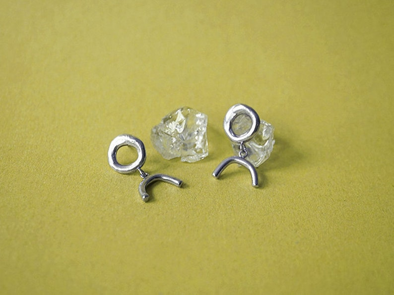 25% OFF  SYMBOLS I stud earrings  sterling silver or bronze image 0