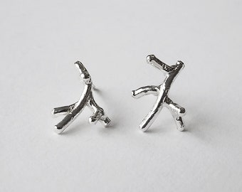 handmade CORAL stud earrings - sterling silver or gold plated -