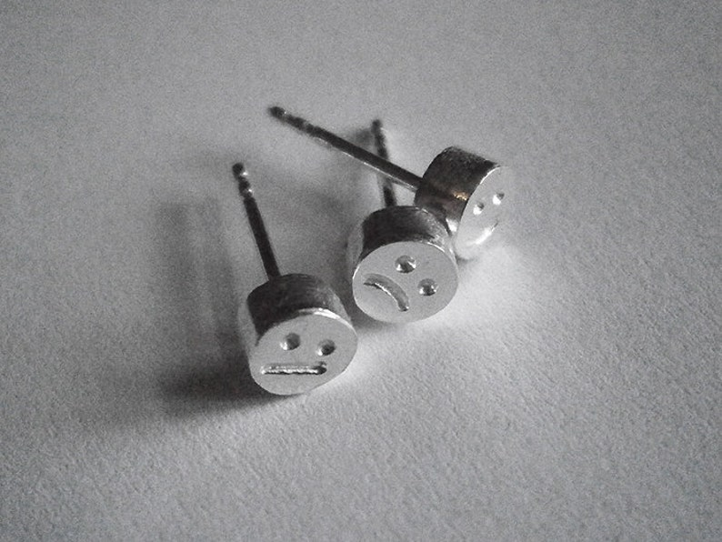 SMILEY earrings  mix and match  sterling silver image 0