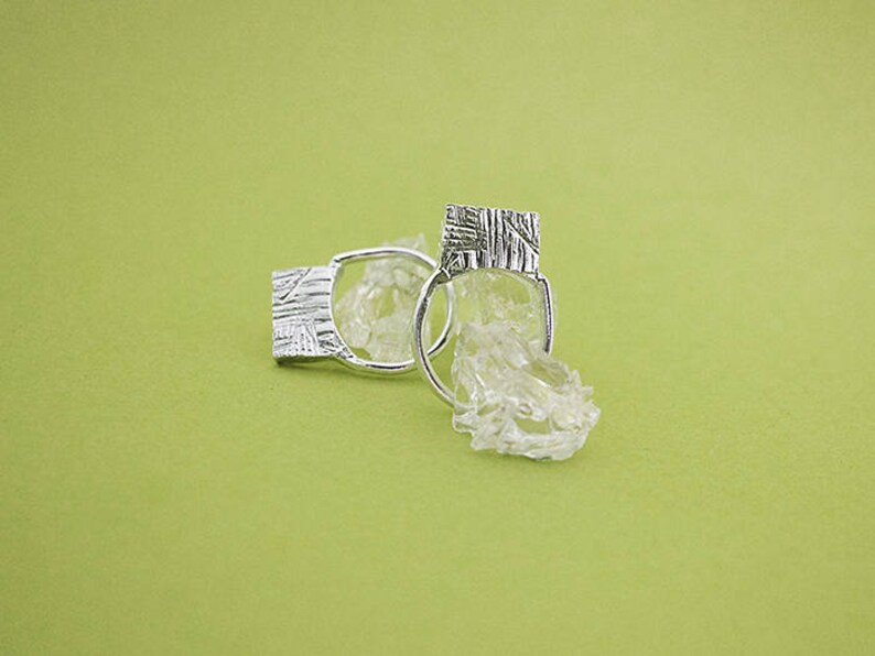 SQUARE textured ring  solid sterling silver or bronze image 0