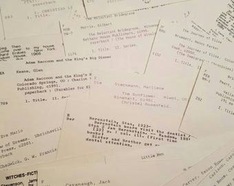 25 Library Card Catalog cards for scrapbooking