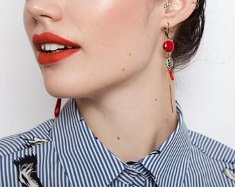 Cherry Red Mismatched Earrings - Long Asymmetric Earrings - Madone Inspired Earrings (SD1034)