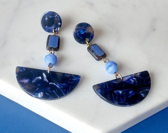 Contemporary Earrings Half Moon Acetate Cellulose - Statement Blue Earrings - Semi Circle Earrings - Ballroom Earrings (SD1375)