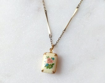 Vintage Rose Pendant Necklace - Floral Charm - Ana Necklace - (SD1342)