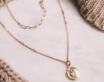 Rose coin necklace, vintage style charm necklace, Medal necklace adjustable (SD1638)