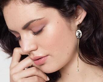 Long Black and White Mismatched Earring - Asymmetric Earrings Vintage Intaglios - Rose Stud - Sakura Inspired Earrings (SD896)
