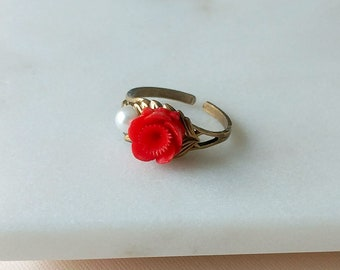 OOAK Rose Ring Vintage Inspired - Adjustable Brass Ring - Red Rose Ring with pearl - Flower Ring  - Sakura in cherry red (SD1367)