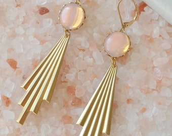 Opal Pink Earrings - Art Deco Style Earrings - Geometric Earrings - Pink and Gold Earrings - Aurora Earrings (SD1244)