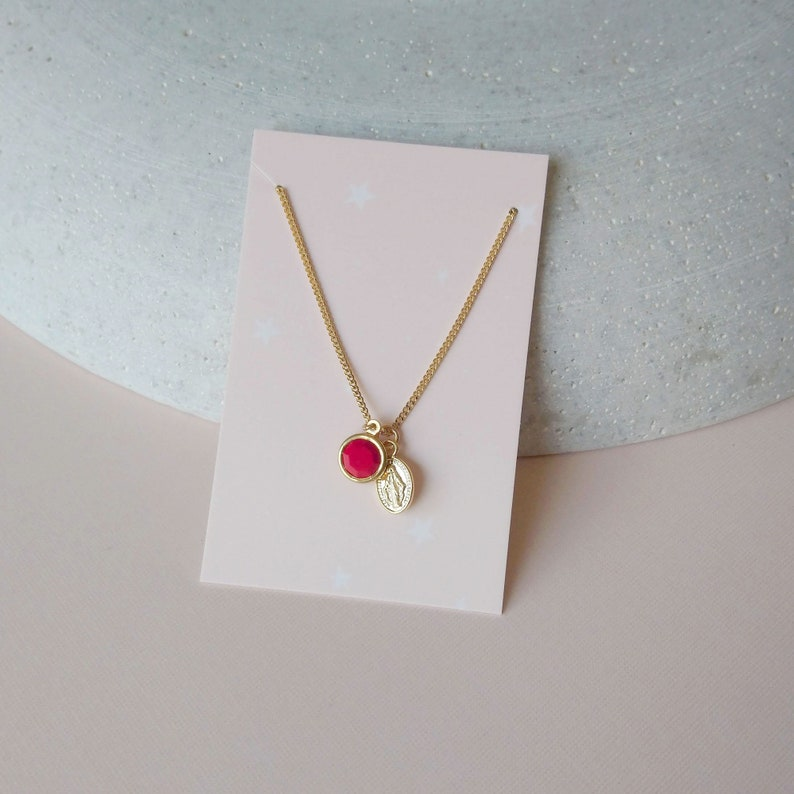 Red vintage charm necklace  Golden chain with charms  Maria image 0