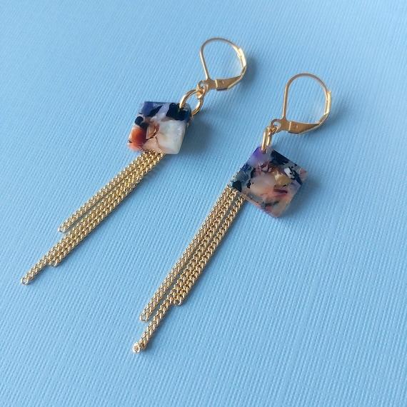 6e7e9e74b5 Acetate Earrings Square pendant with chains tassel