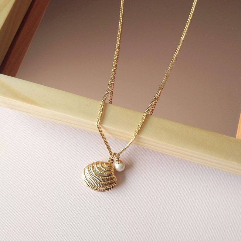 Oyster Charm Necklace  Gold Charm Necklace with pearl image 0