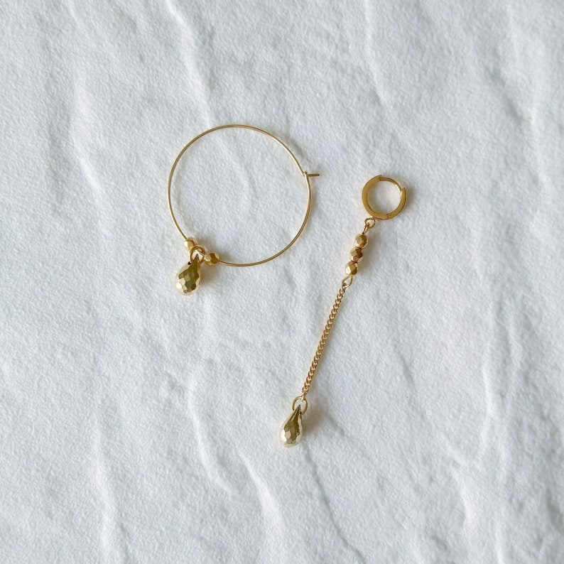 Mix and match earrings  Golden Asymmetrical earrings with I'd like one of each